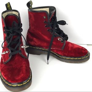 Dr. Martens Red Velvet Pascal High Top Combat Boot